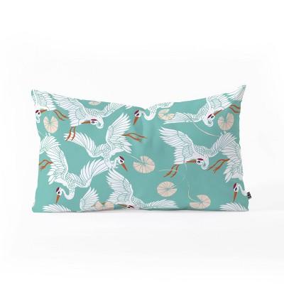"""23""""x14"""" Marta Barragan Camarasa Flock of Crane Birds Lumbar Throw Pillow - Deny Designs"""