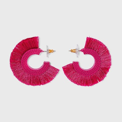 SUGARFIX by BaubleBar Three Quarter Fringe Hoop Earrings
