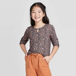 Girls' Long Sleeve Rib Key Hole Top - art class™