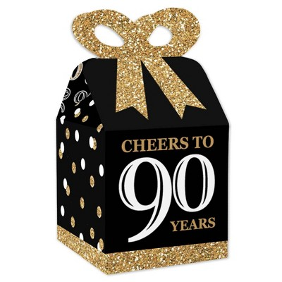 Big Dot of Happiness Adult 90th Birthday - Gold - Square Favor Gift Boxes - Birthday Party Bow Boxes - Set of 12
