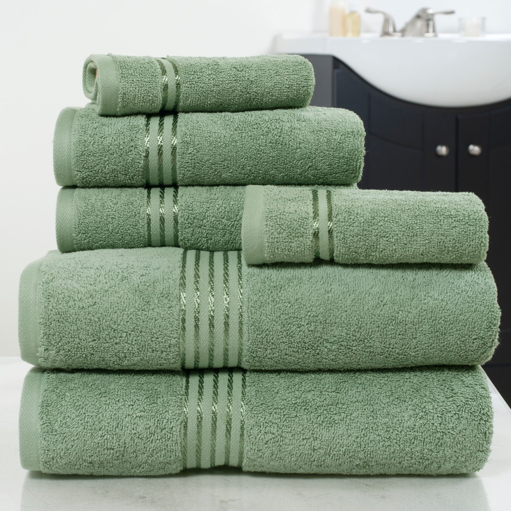 Solid Bath Towels And Washcloths 6pc Green - Yorkshire Home