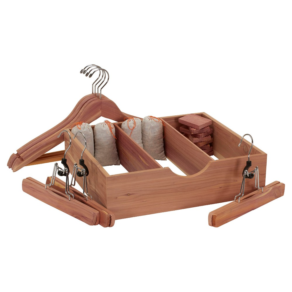 Image of Household Essentials - 19 Pc Cedar Storage Accessory Set Deluxe - Natural, Wood