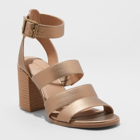 Women's Etta Metallic Ankle Strap Sandal - Universal Thread™ Gold - image 1 of 3
