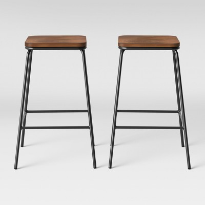 Set of 2 Rhodes Metal & Wood Seat Square Counter Height Barstool - Project 62™