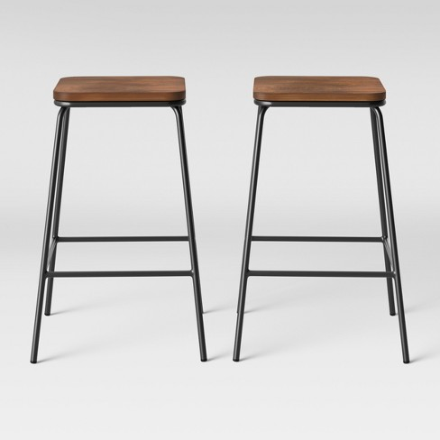 Cool Set Of 2 Rhodes Metal Wood Counter Stool Black Project 62 Pdpeps Interior Chair Design Pdpepsorg