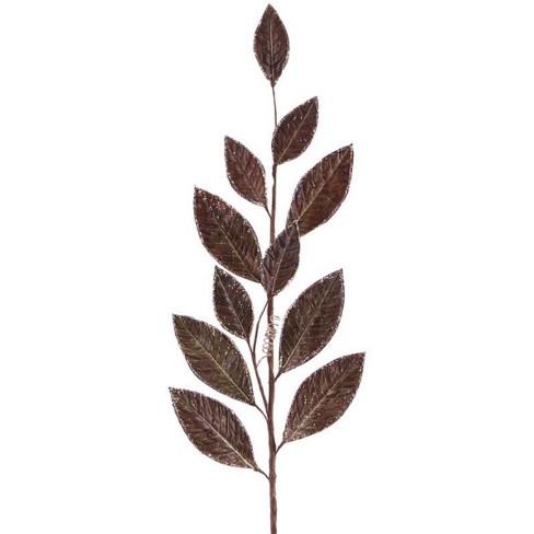 "Melrose 32"" Glittered Brown Magnolia Leaf Artificial Spring Spray - image 1 of 1"
