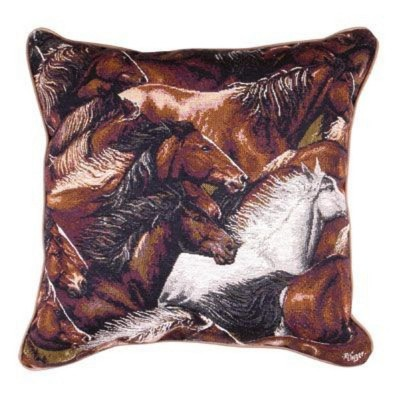 """Simply Home 17"""" Square Wild Running Mustang Horses Indoor Throw Pillow - Brown"""
