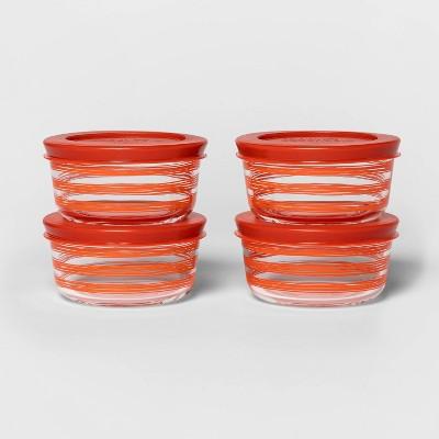 1 Cup 4pk Round Decorative Food Storage Container Set Red - Room Essentials™