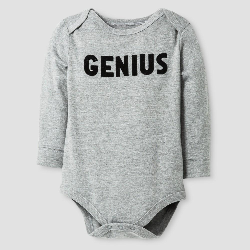 Baby Long Sleeve Genius Bodysuit - Cat & Jack Gray 0-3M, Infant Unisex, Size: Newborn, Alloy Gray