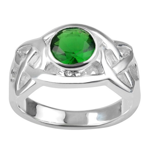 1/4 CT. T.W. Round-cut Cubic Zirconia Celtic Accent Bezel Set Ring in Sterling Silver - Green - image 1 of 2