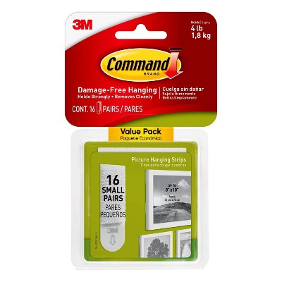 Command 16 Sets of Strips Small Sized Picture Hanging Strips White