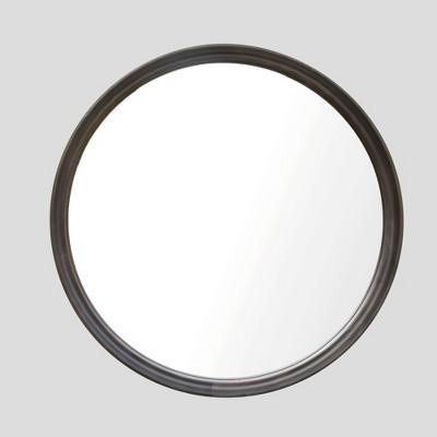 """26"""" Classic Wood Round Mirror Black - Threshold™"""