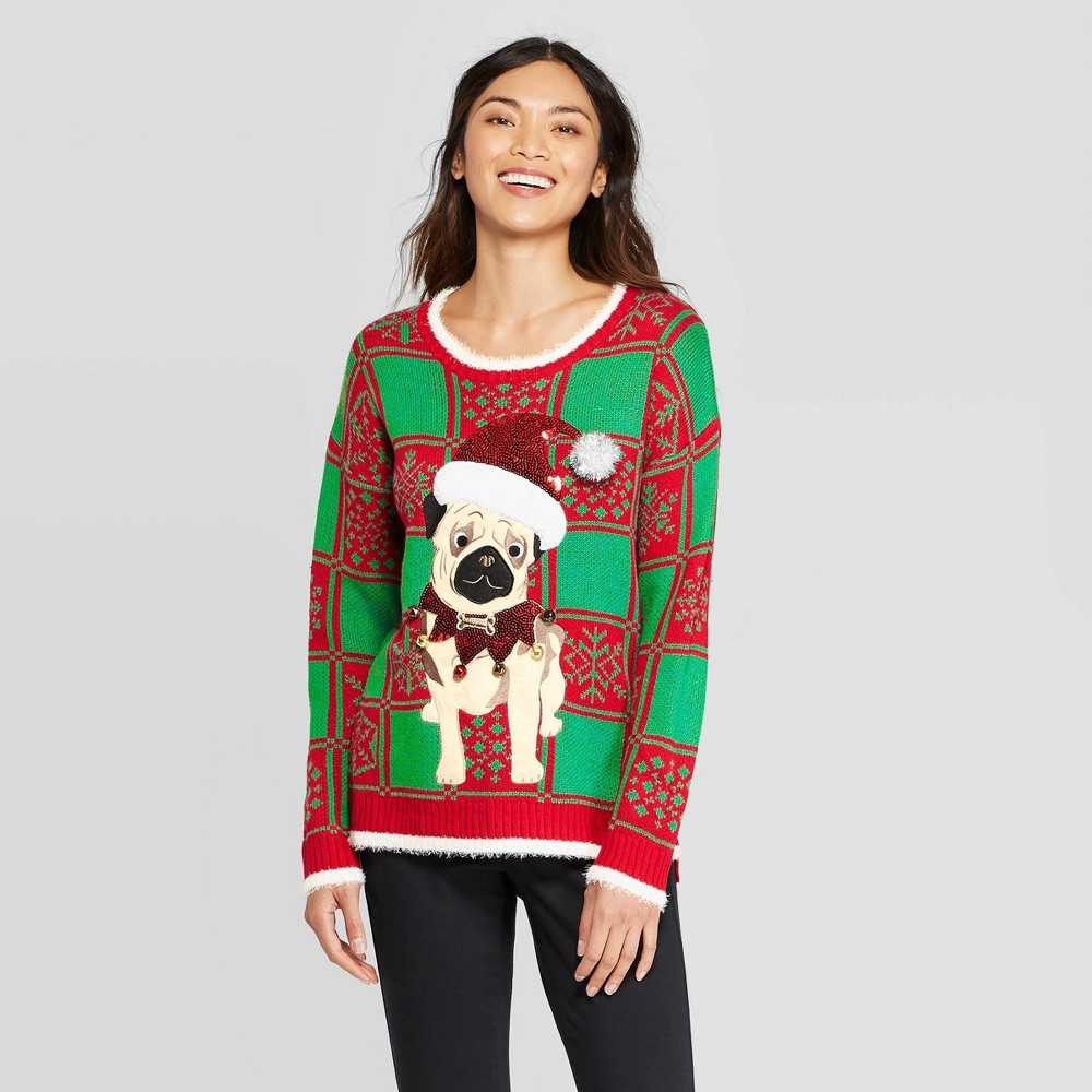 Image of Women's Plaid Dog Ugly Holiday Sweater - 33 Degrees (Juniors') - Red/Green L, Women's, Size: Large