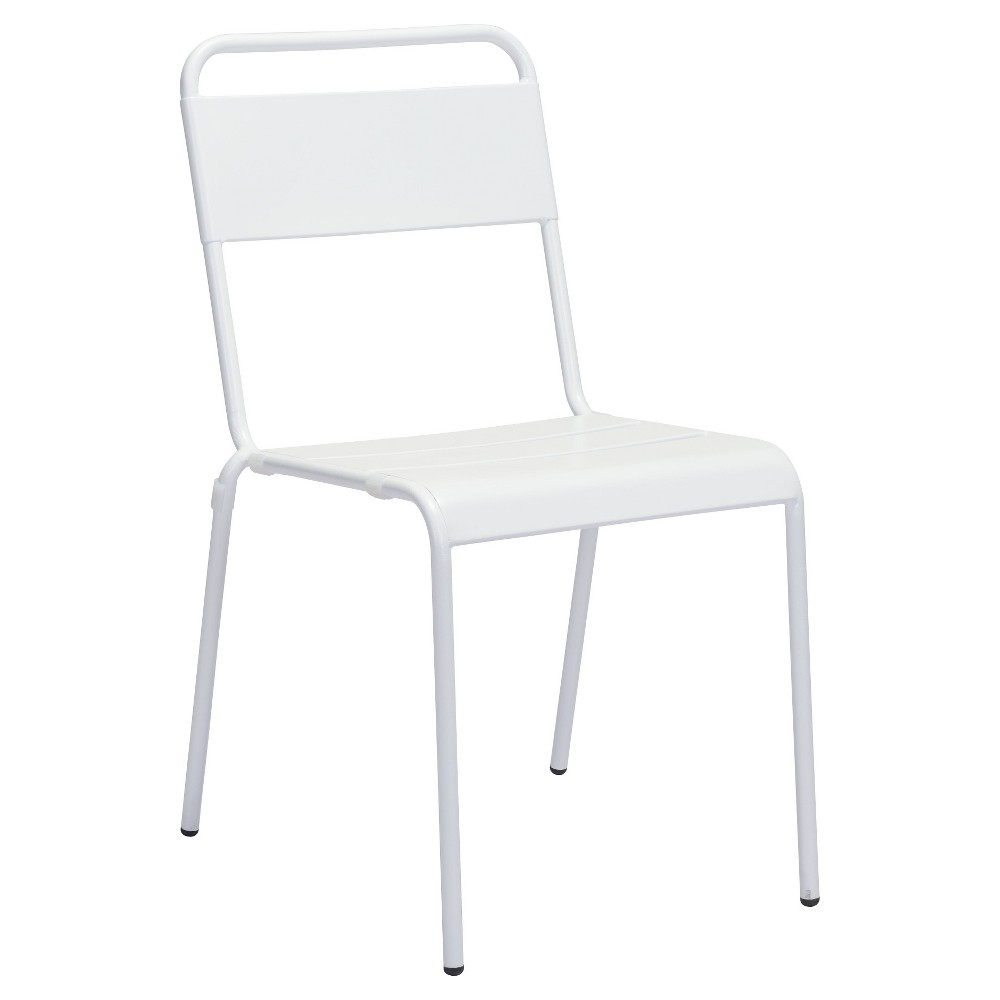 Stackable 2pk Weather Resistant Steel Bistro Chair - White - ZM Home