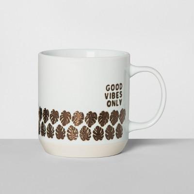 Stoneware Good Vibes Only Mug 16oz White/Gold - Opalhouse™