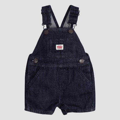 Levi's® Baby Denim Shortalls – Rinse Dark Wash 9M