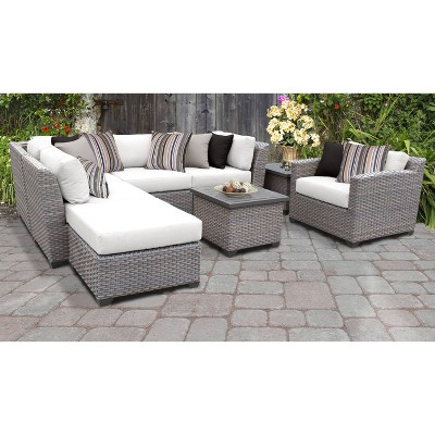 Florence 8pc Sectional Seating Group with Cushions - White - TK Classics
