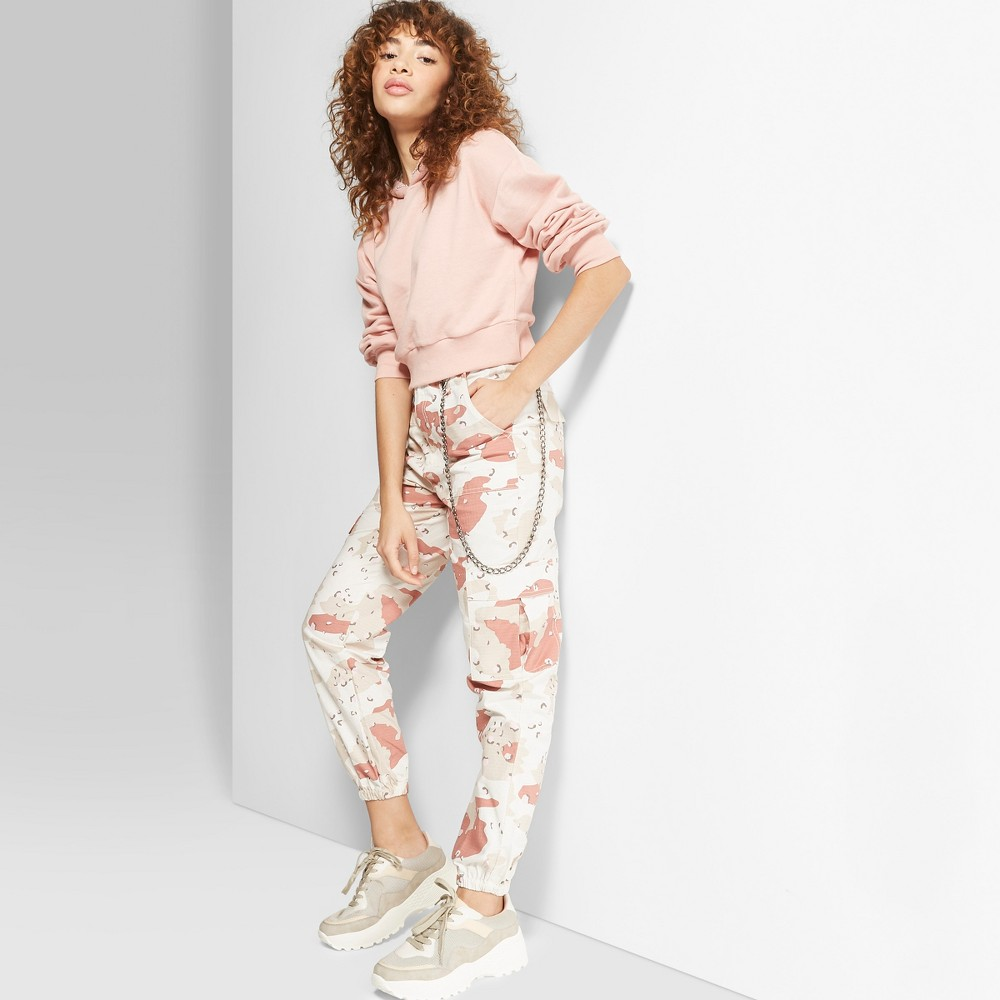 Women's Camo Print High-Rise Desert Pants - Wild Fable White 8