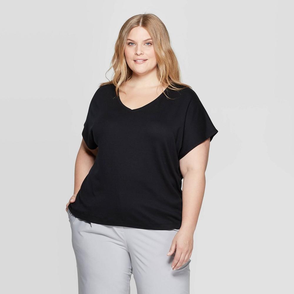 5941268057c8c Womens Plus Size Short Sleeve V Neck Dolman T Shirt Prologue Black 4X