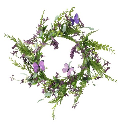"""Northlight 24"""" Unlit Purple/Green Artificial Mixed Berry and Butterfly Floral Spring Wreath - image 1 of 1"""