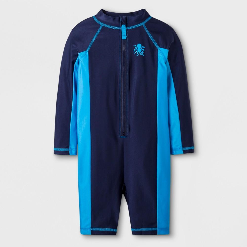 Toddler Boys' Long Sleeve Full Body One Piece Swimsuit - Cat & Jack Navy 6, Blue
