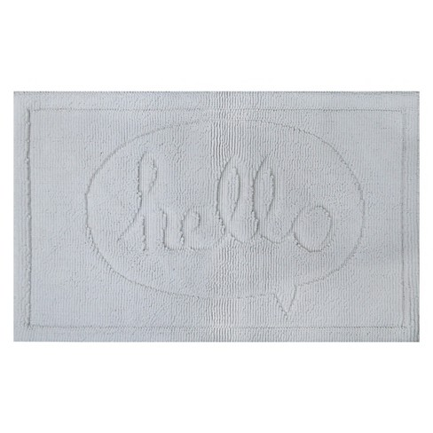 Hello Tonal Bath Rug White - Pillowfort™ - image 1 of 1
