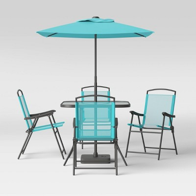 7pc Metal Folding Patio Dining Set - Aqua - Room Essentials™
