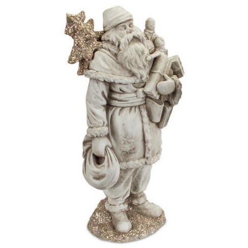"""Melrose 15.25"""" Gray Antique Santa Claus Christmas Figurine Carrying Presents and a Silver Glittered Tree - image 1 of 1"""