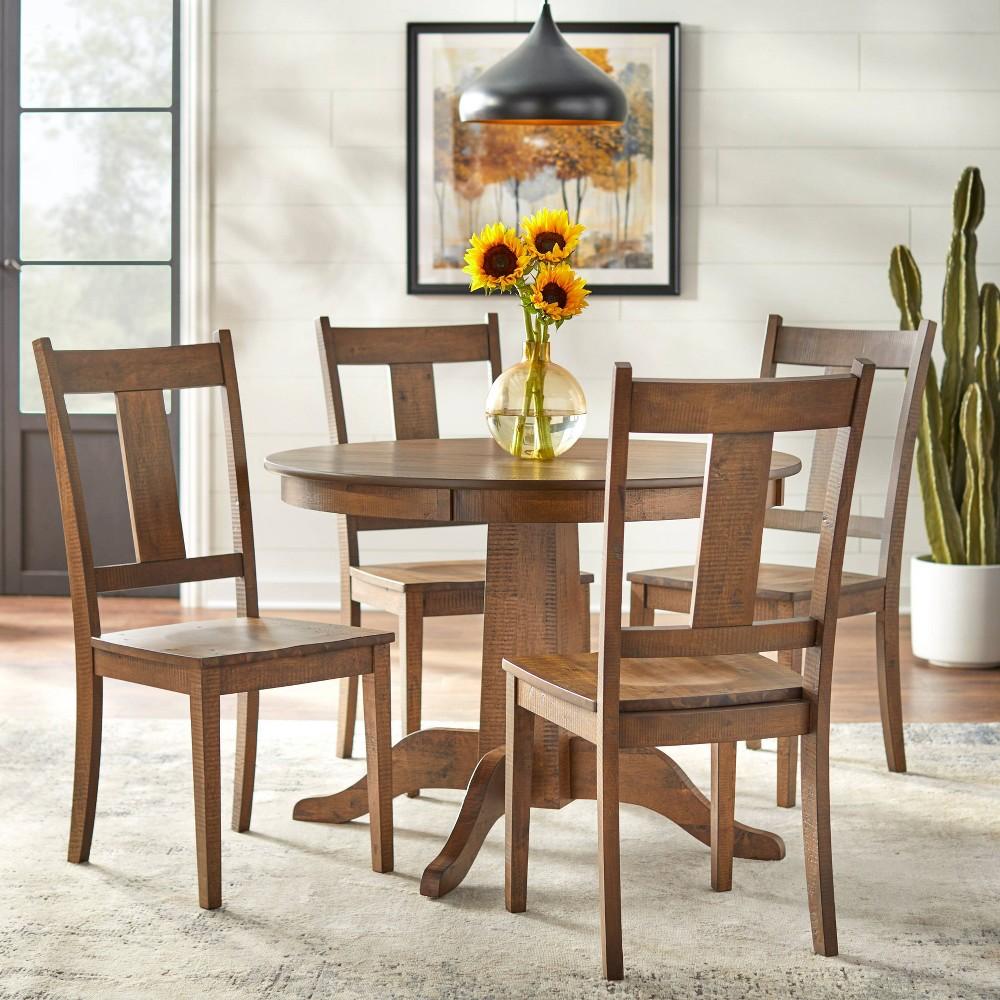 5pc Athens Round Dining Set Walnut Lifestorey