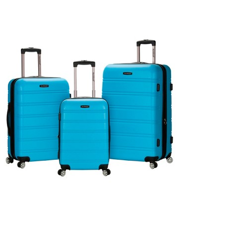 4b6d006a7dab Rockland Melbourne 3pc Expandable ABS Spinner Luggage Set - Turquoise
