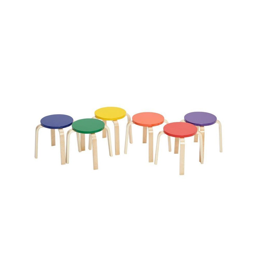 Phenomenal Ecr4Kids Bentwood Stools 6Pc Set Multi Colored Beatyapartments Chair Design Images Beatyapartmentscom
