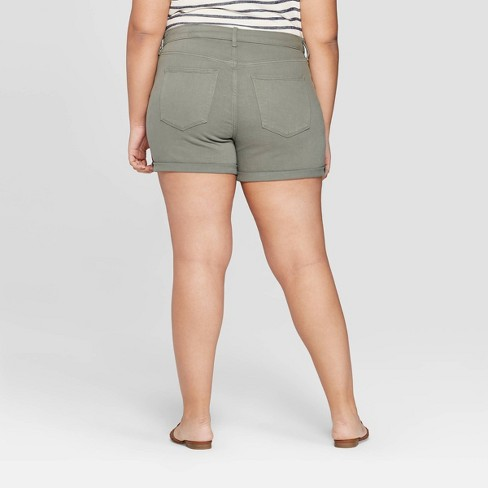 af327e55b9 Women's Plus Size Mid-Rise Jean Shorts - Universal Thread™ Olive ...