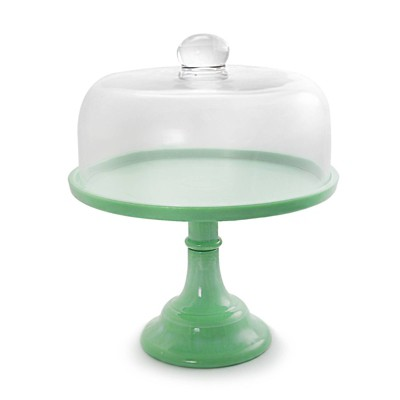 "Gibson Home 10"" Stoneware Cake Stand with Glass Dome Cover Green"