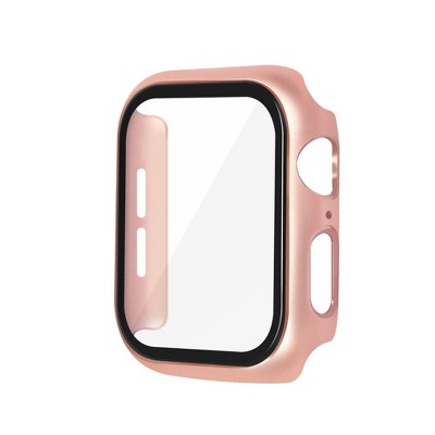 Metal Hard Case Compatible with Apple Watch 40mm Series 6 5 4 SE, Built in Tempered Glass Screen Protector Full Protective Cover, Rose Gold by Insten