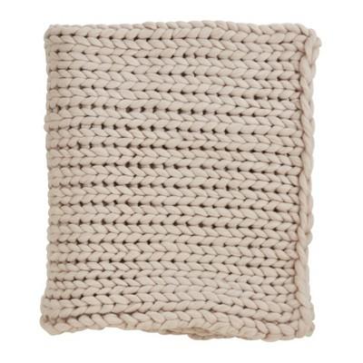 50 x60  Chunky Knit Throw Blanket Tan - Saro Lifestyle