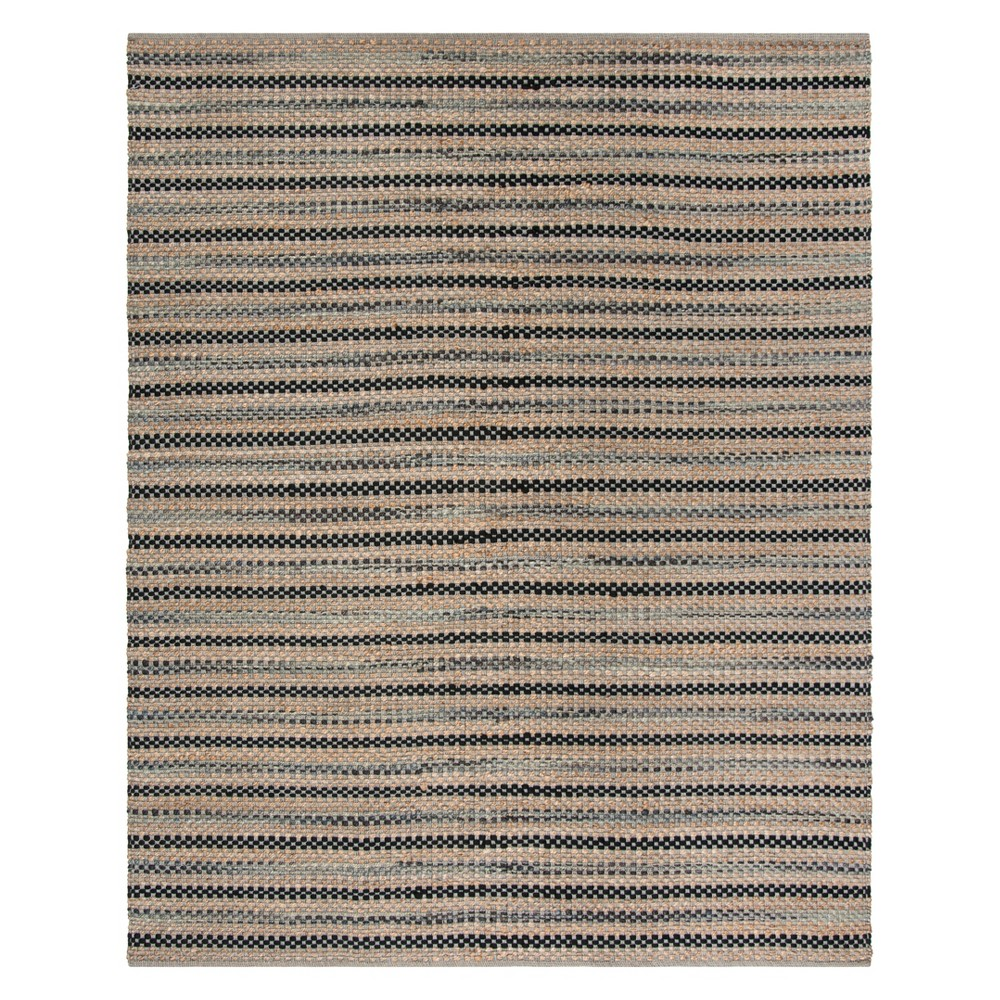 8'X10' Stripe Woven Area Rug Gray/Black - Safavieh