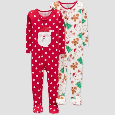 Toddler Girls' 2pk Dotted Santa Footed Pajama - Just One You® made by carter's Red/Off White - image 1 of 1