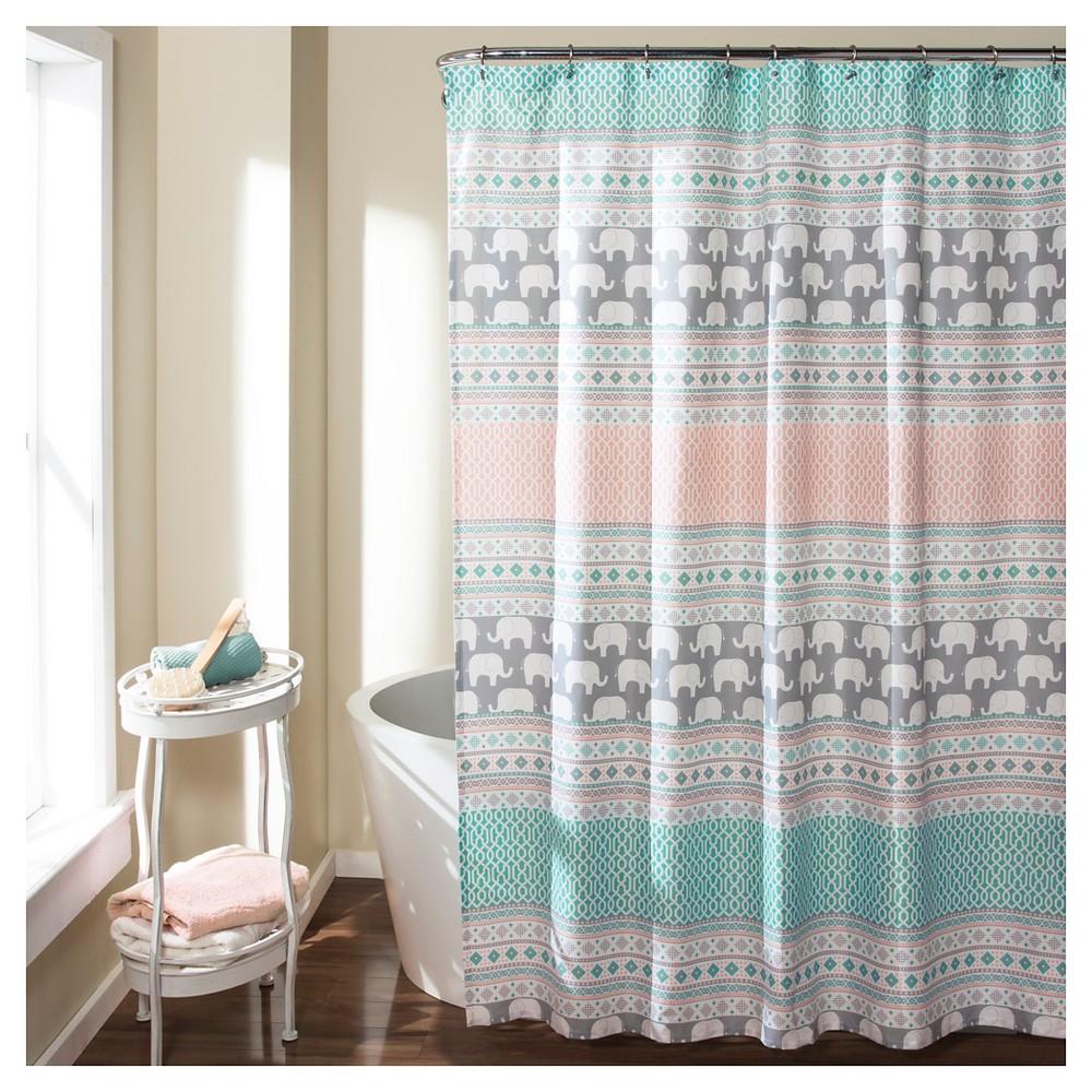 Elephant Stripe Shower Curtain Turquoise - Lush Décor