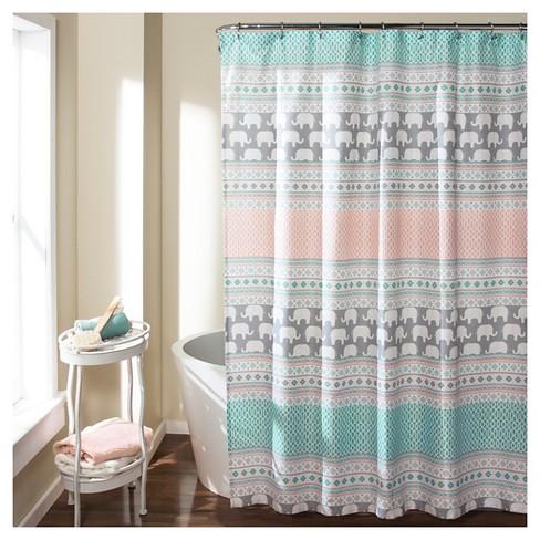 elephant stripe shower curtain turquoise lush décor target