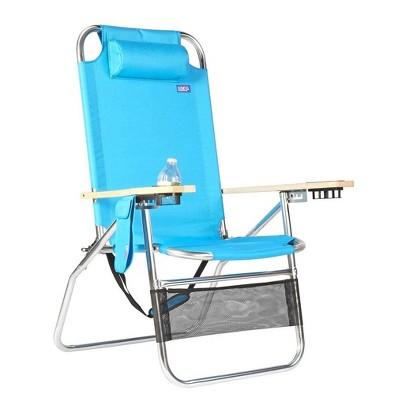 Copa Big Papa 4 Position Folding Aluminum Beach Lounge Chair w/ Headrest, Blue