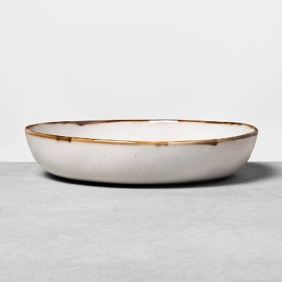 Shallow Stoneware Reactive Glaze Serve Bowl Sour Cream - Hearth & Hand™ with Magnolia