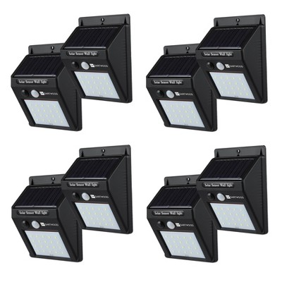 Dartwood Outdoor Solar Lights with Motion Sensor - 20 LED 150 Lumens Bright Weatherproof Wall Spotlight for Gardens Porches Walkways Patios (4-8 Pack)