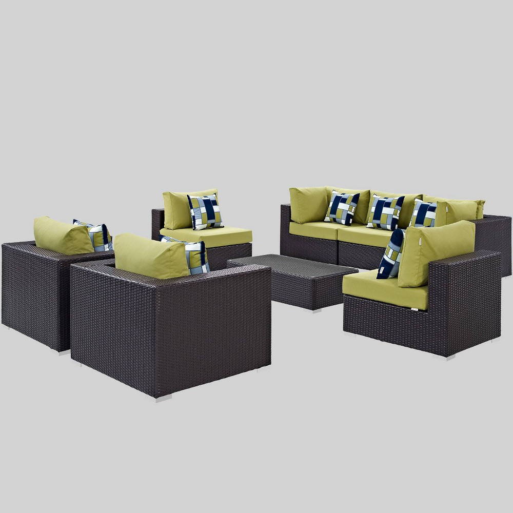 Convene 8pc Outdoor Patio Sectional Set - Peridot - Modway