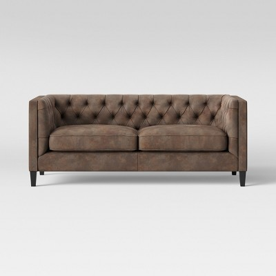 lewes tufted sofa tobacco faux leather brown threshold target rh target com