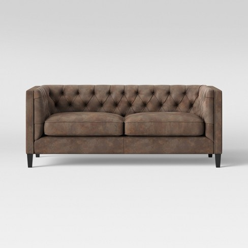 Lewes Tufted Sofa Tobacco Faux Leather Brown - Threshold™ : Target