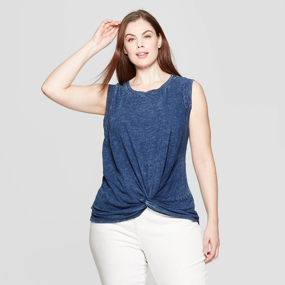 2d5f89dbe8312d Womens Plus Size Sleeveless Crewneck Twist Front Tank Top Universal Thread  Indigo Blue 4X