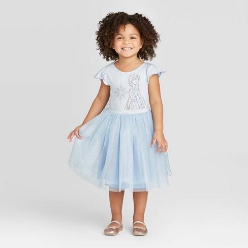 Toddler Girls' Disney Frozen Elsa Tutu Dress with Cape - Blue - image 1 of 4
