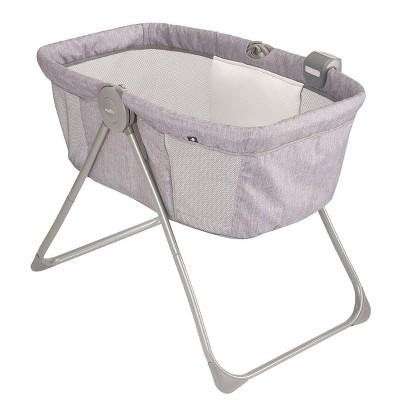 Evenflo 12112125 Loft Portable Travel Baby Bassinet Crib with Bluetooth Speaker, Soft Nightlight, Mesh Panels, 20 Pound Capacity, Chevron Melange Gray