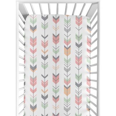 Sweet Jojo Designs Fitted Crib Sheet - Coral & Mint Woodsy - Arrow