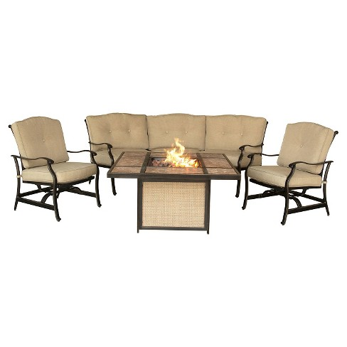 Traditions 4pc Metal Outdoor Lounge Set with Tile-top Fire Pit Brown/Beige- Hanover - image 1 of 4